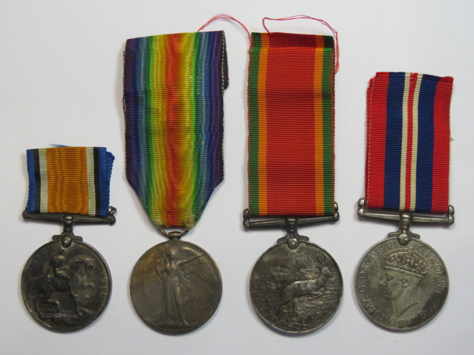 Set of WW1 and WW2 medals issued to Pte. S. Green - 1st Cape Corps