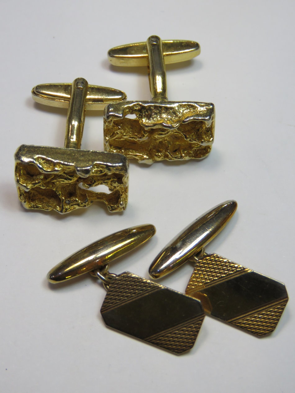 Two pairs of vintage gold plated cufflinks