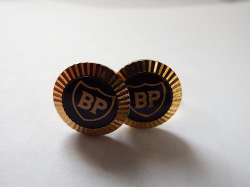 Pair of Vintage gold color BP cufflinks - made in USA
