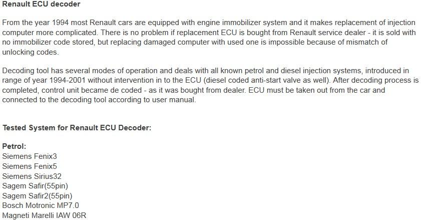Renault ECU Decoder