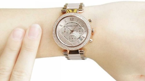 0b946f28c3d8 Functions: chronograph, date, hour, minute, second. Casual watch style. Michael  Kors Parker Blush Dial Rose Gold-tone and Blush Acetate Ladies Watch MK5896.