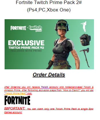 Games - Fortnite TWITCH PRIME PACK #2 (PS4/PC/XBOX One) was