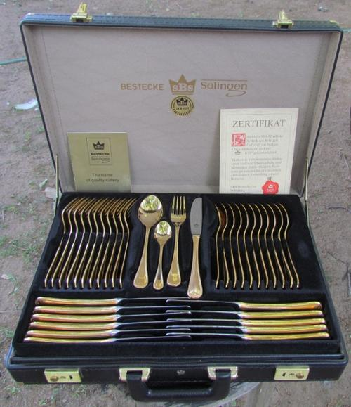 Full Cutlery Sets - SOLINGEN West German 23/24 GOLD PLATED CUTLERY ...