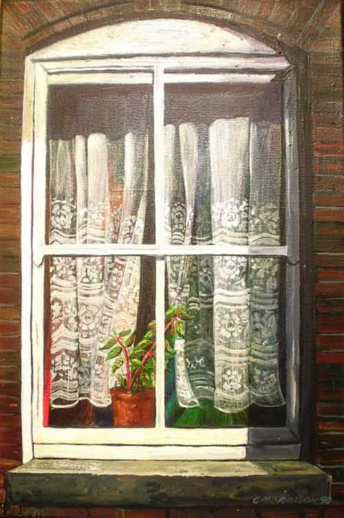 Oils Original Oil Painting Window With Lace Curtains