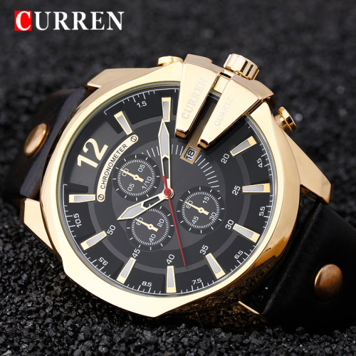 Men 39 s watches curren 8176 chronometer quartz date watch leather band scrape guard was sold for Curren watches