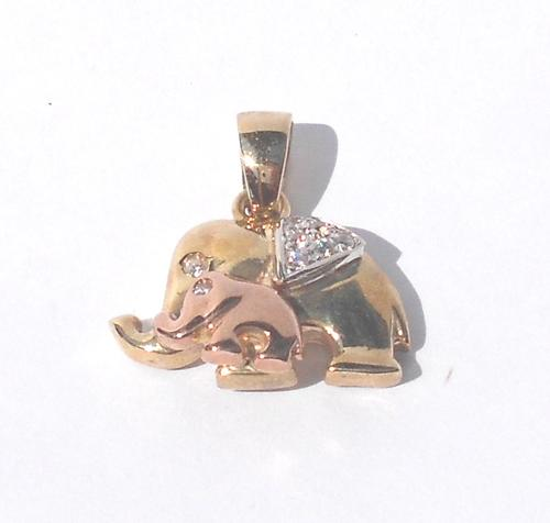 Pendants 9ct tri colour gold elephant pendant with two elephants 9ct tri colour gold elephant pendant with two elephants aloadofball Images