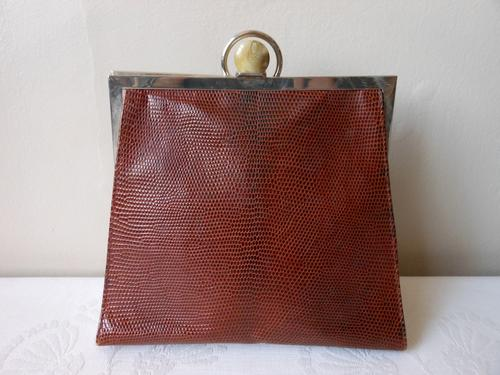 0e02bee40e Stunning authentic vintage genuine lizard skin and leather bag by Desmo.  Made in Italy. White leather wrist strap. Beautiful clasp. Very good  condition.