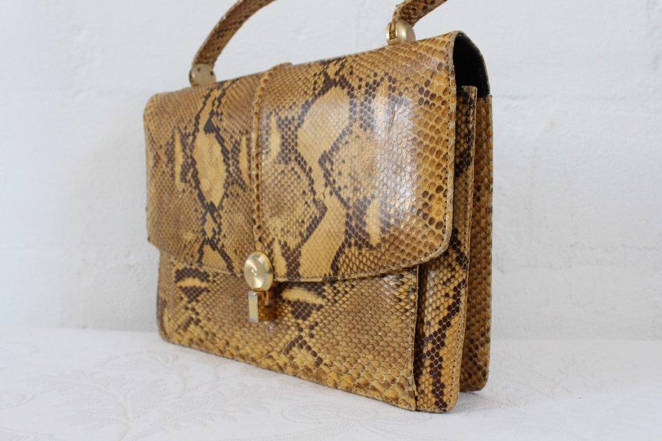 d169719a706fa Handbags   Bags -  GENUINE SNAKE SKIN  VINTAGE BROWN KELLY STYLE ...
