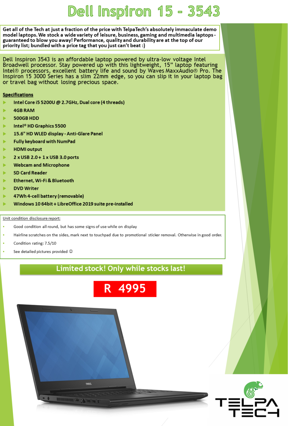 Laptops & Notebooks - BARGAIN BUY: Dell Inspiron 15 - 3543