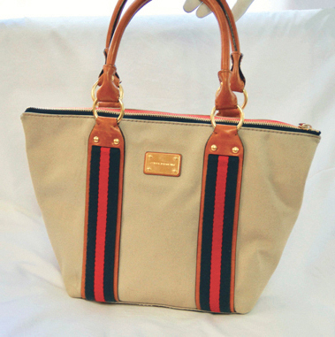 1c9f4098c996 GENUINE MICHAEL KORS BEIGE CANVAS TOTE BAG WITH RED & NAVY FABRIC ACCENTS  AND TAN LEATHER TRIM.