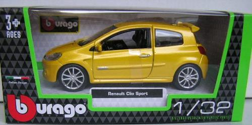 Burago Diecast Model Car Renault Clio Sport 1/32 Scale New In Pack