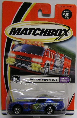 Matchbox Diecast Model Car 2001 5 / 75 Dodge Viper GTS Daddys Dreams 1/64  scale new in pack