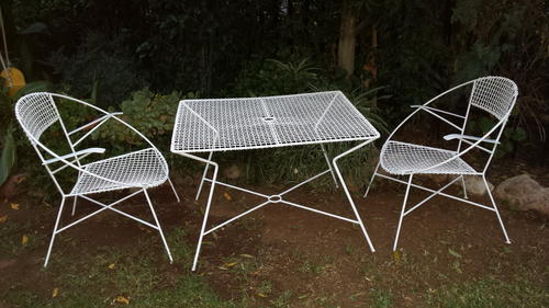 Old metal garden set. Largish rectangle table and two chairs. Just been  painted. Cushions coming later, included in price. Sturdy, comfy and in  good ... - Other Garden & Patio Furniture - Old Metal Garden Set Was Sold For