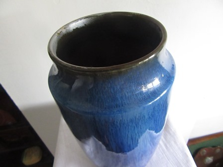 Stoneware Bourne Denby Electric Blue Glazed Art Pottery Vase C1932