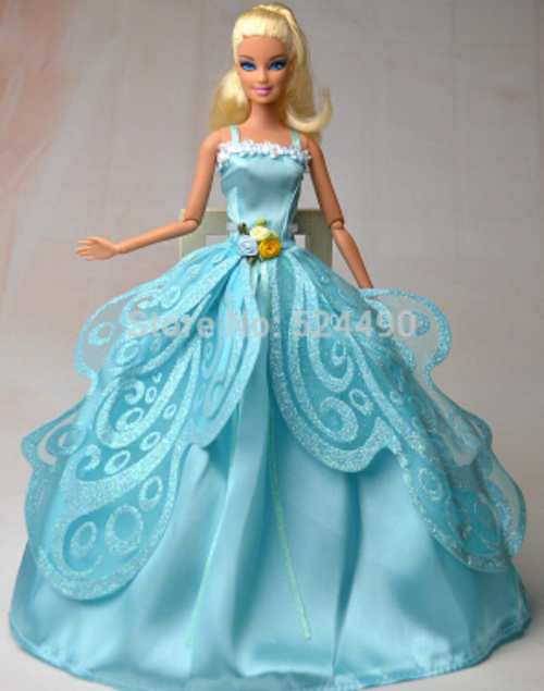 Clothing - Beautiful powder blue satin barbie doll dress with ...