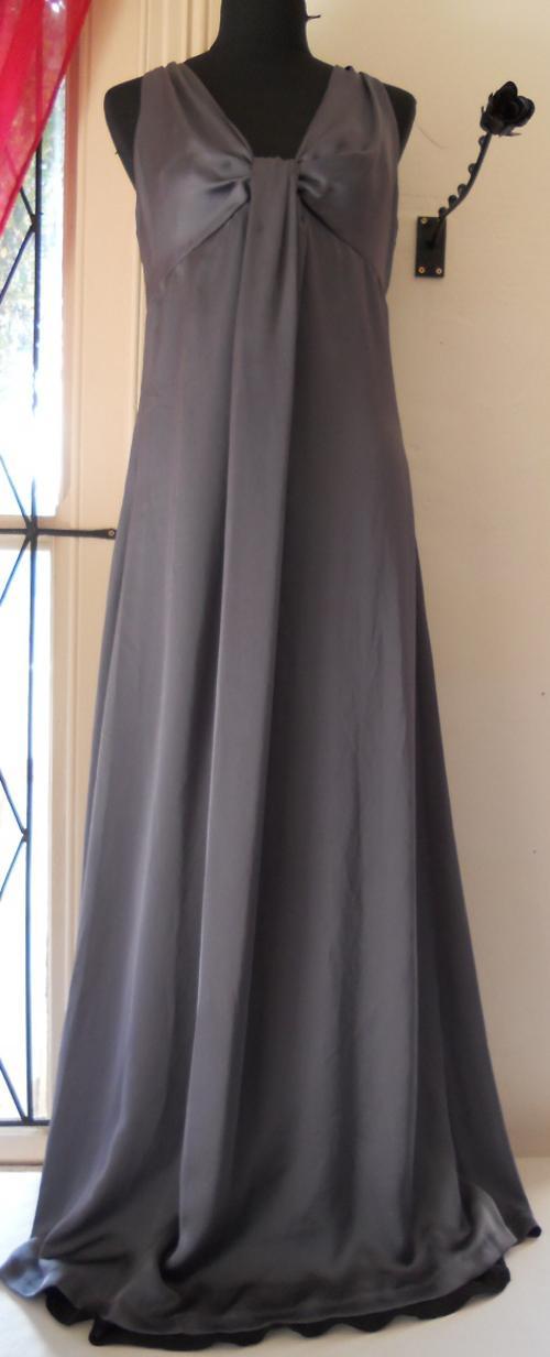 Formal Dresses - Stunning Satin Style Dark Silver Long ...