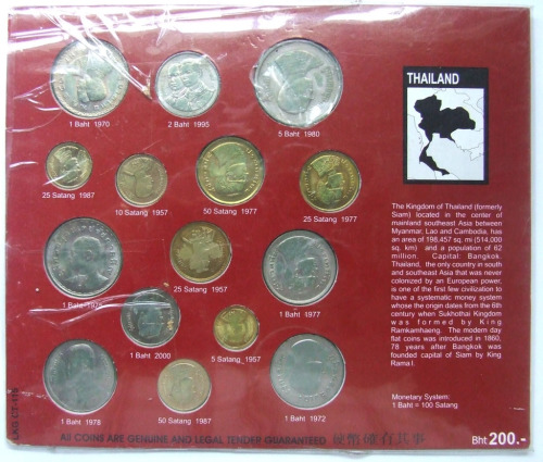 Kingdom of Thailand Old and Current coin Set