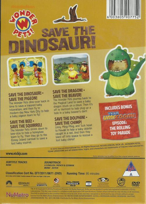 Movies Wonder Pets Save The Dinosaur Dvd Was Listed For R6000