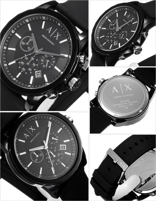 414958b310c4 Fixed black resin bezel. Black dial with silver-tone hands and index hour  markers. Minute markers around the outer rim. The Armani Exchange logo  appears ...