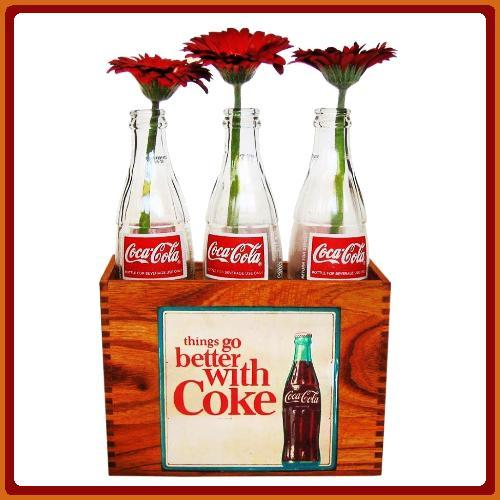 Ornaments - Wooden Crate with Mini Coke Bottles Retro was
