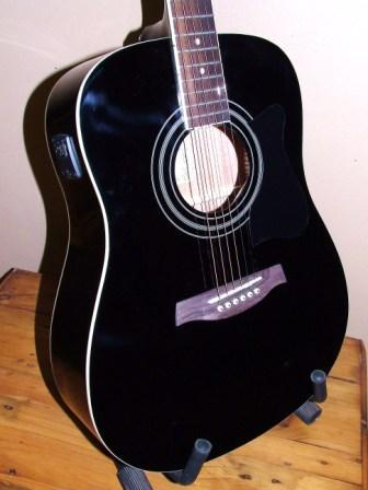 other music instruments ibanez acoustic guitar with built in tuner model v72e bk brand new. Black Bedroom Furniture Sets. Home Design Ideas