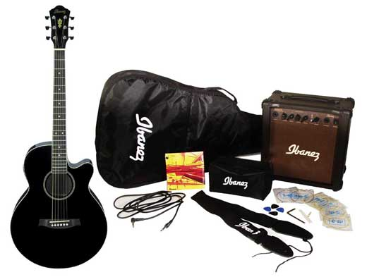 acoustic ibanez acoustic electric guitar pack amp tuner bag strap accessories aeg5. Black Bedroom Furniture Sets. Home Design Ideas
