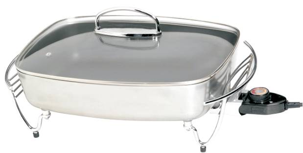 Other Cookware Brushed Steel Electric Frying Pan And