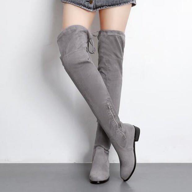 Boots Boots Women S Boots Grey Boots Round Toe Boots Thigh High