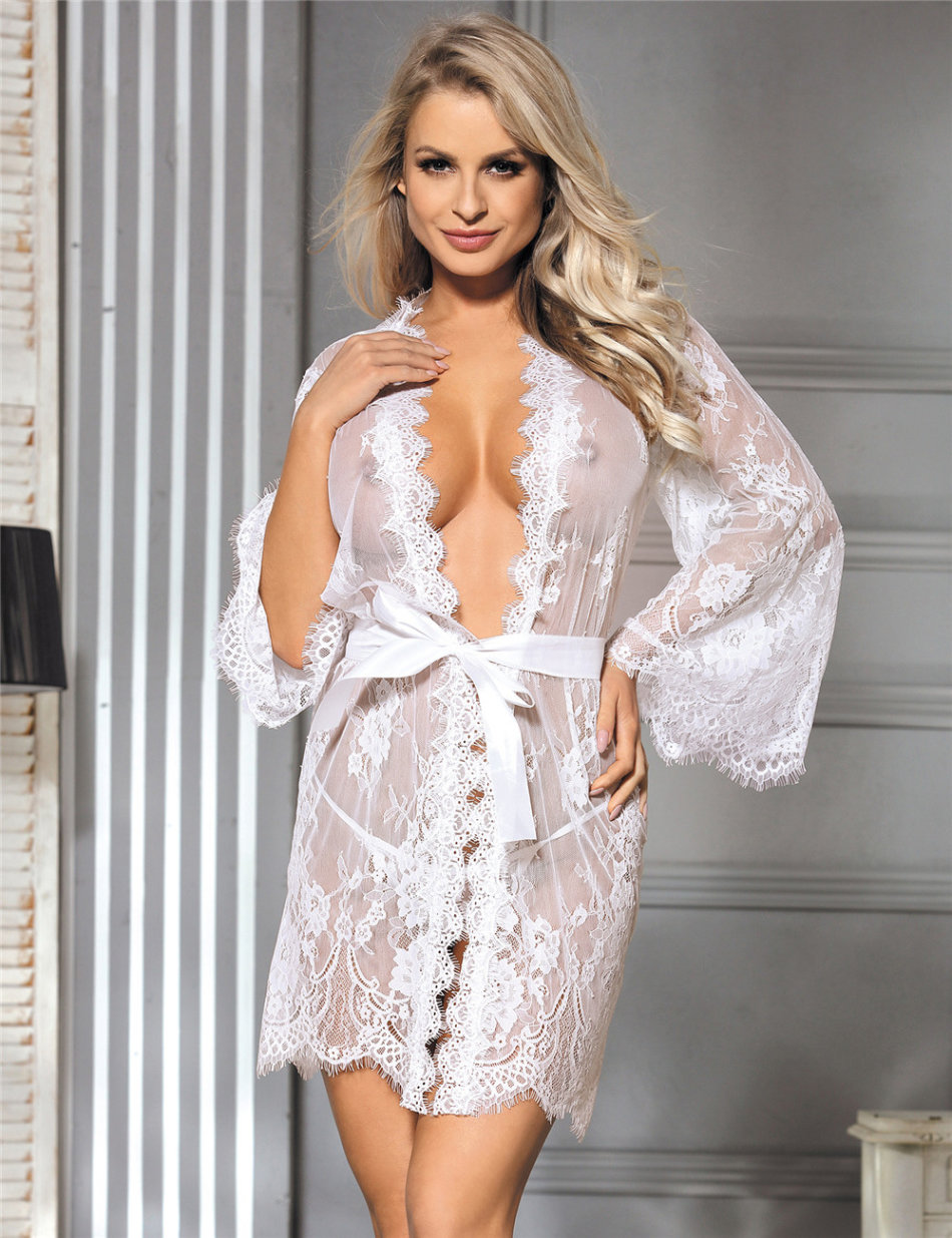 Baby Dolls Teddies White Lingerie Gown Sleepwear Lace Plus Size