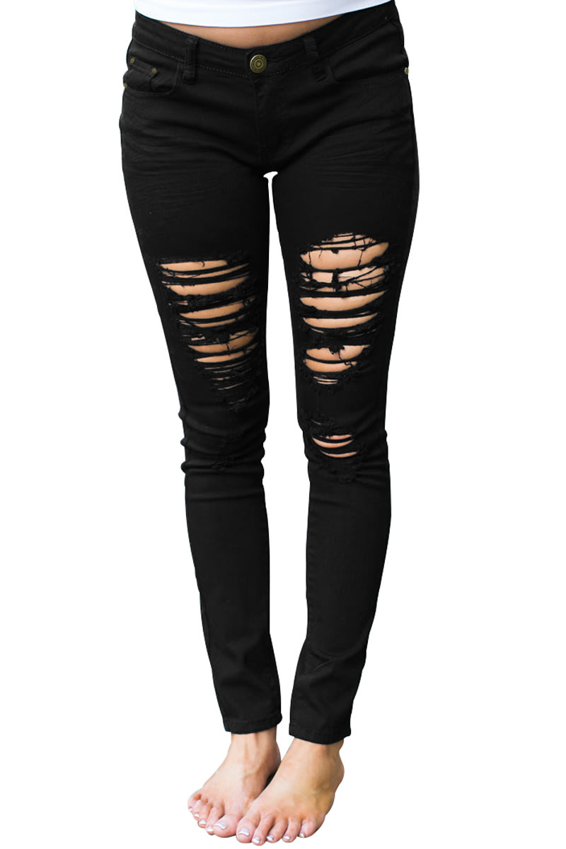 98e2b078e3ea3 Jeans - Black Ripped Skinny Denim Jeans For Ladies was listed for ...