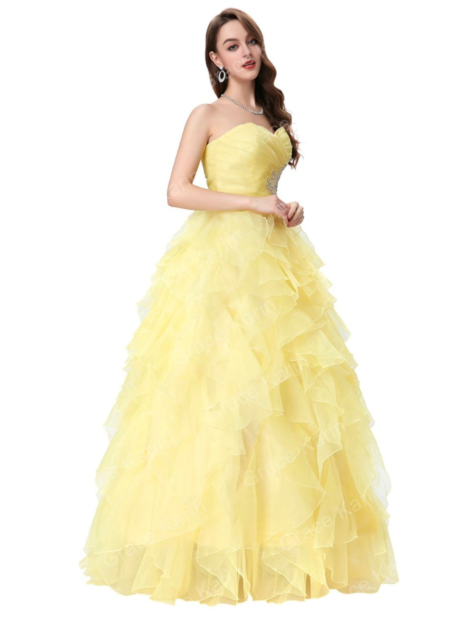 Formal Dresses - Yellow Quinceanera Pageant Ball Gown Evening Gowns ...