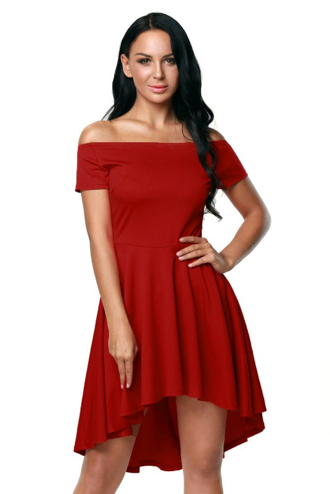 Formal Dresses - Off Shoulder Wine Red High Low A-Line Flare Party ... 60cd8d9b5