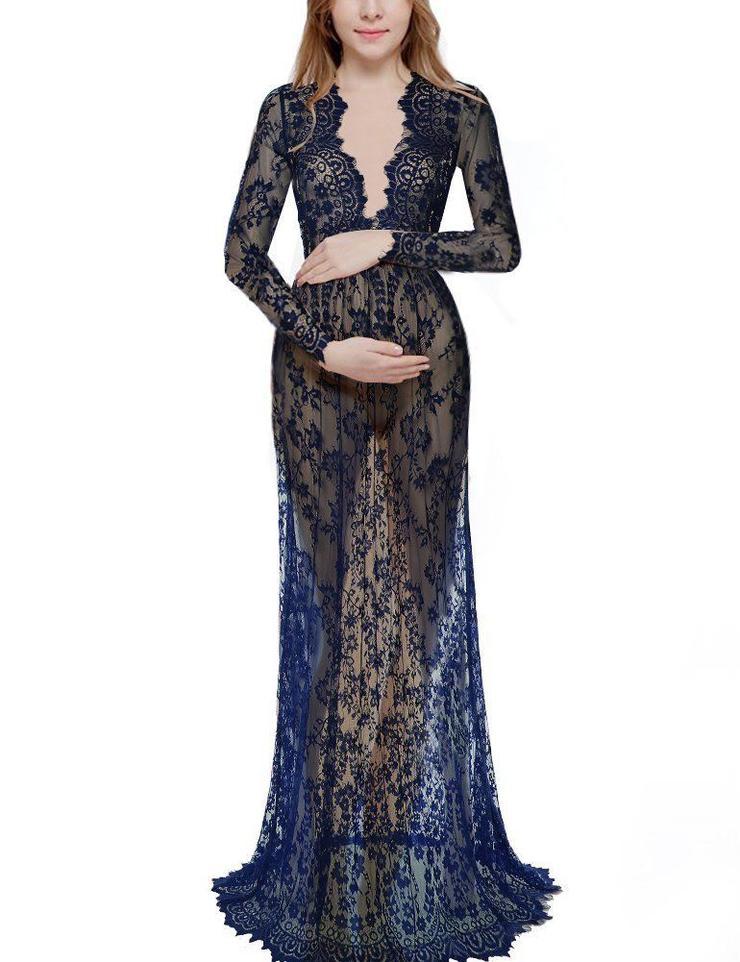 Dresses Black Maternity Photo Shoot Long Sleeve Lace See Through