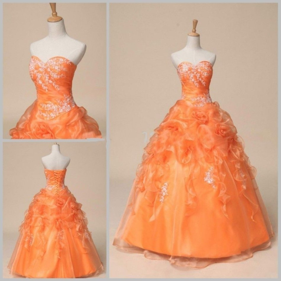 Formal Dresses - Orange Ball Gown Sweetheart Quinceanera Dress with ...