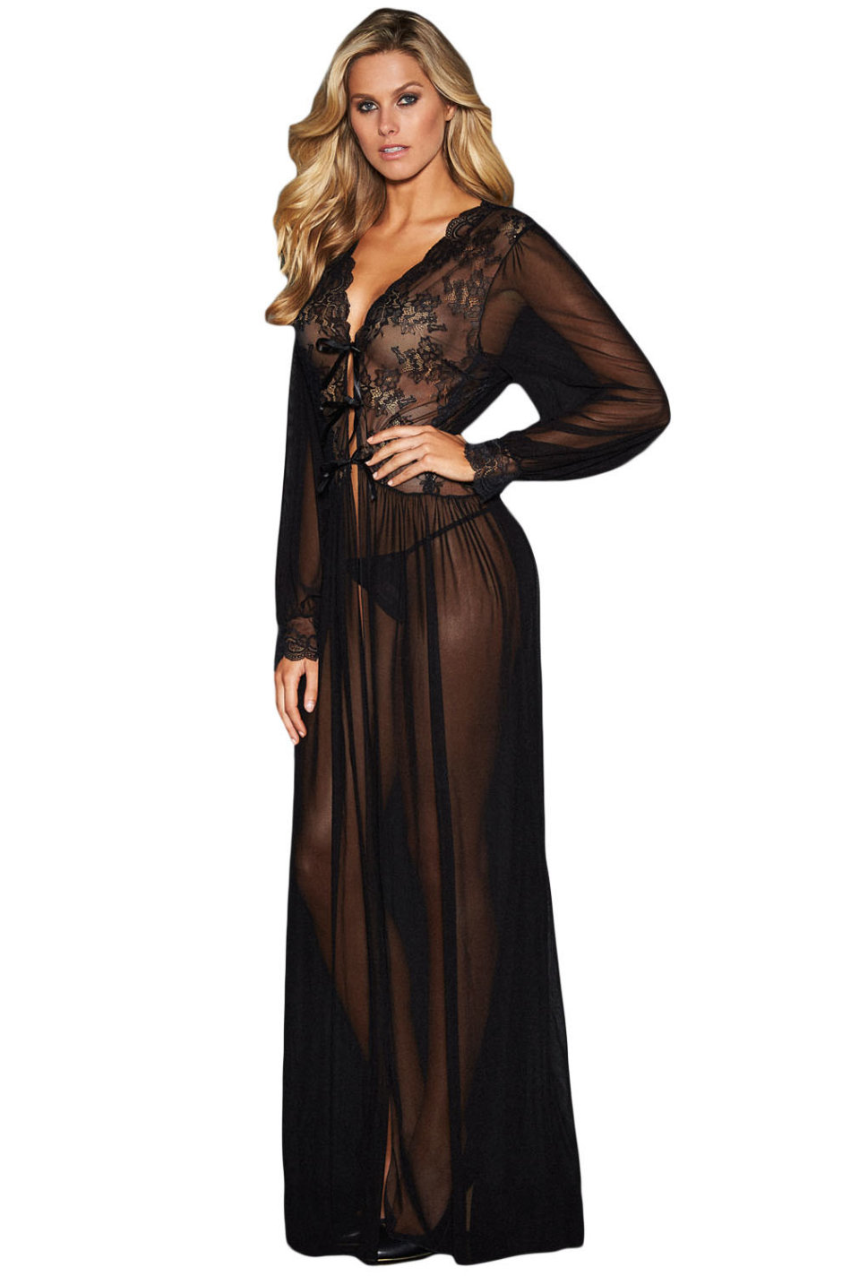 8aac6f4843a Sleepwear - Sexy Black Sheer Long Sleeve Lace Robe Set - L was ...