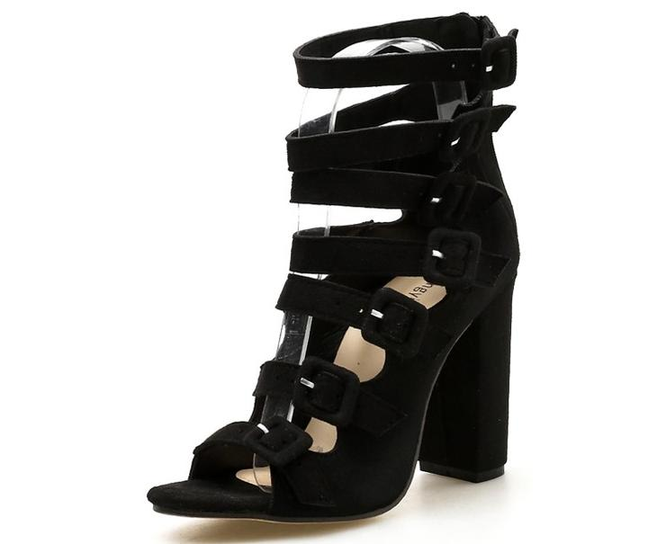 1a3db54eaa4 Black Suede Multi-Buckle Block Heel Sandals - 38
