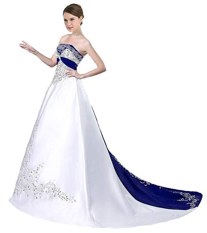 99a2746d4ea Custom Made White Wedding Gown Court Train Satin Wedding Dress With Blue  Trim