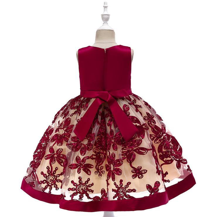 0a553939cad2 Dresses & Skirts - Red Sateen Embroidered Toddler Girls Party ...