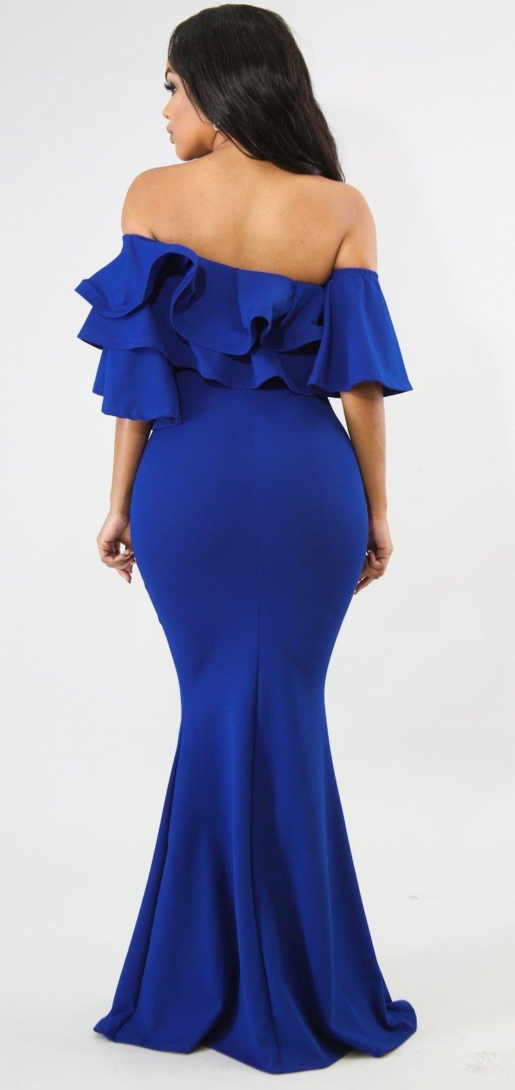 f80b58985e7 Formal Dresses - Blue Maxi Off Shoulder Ruffles Evening Mermaid ...