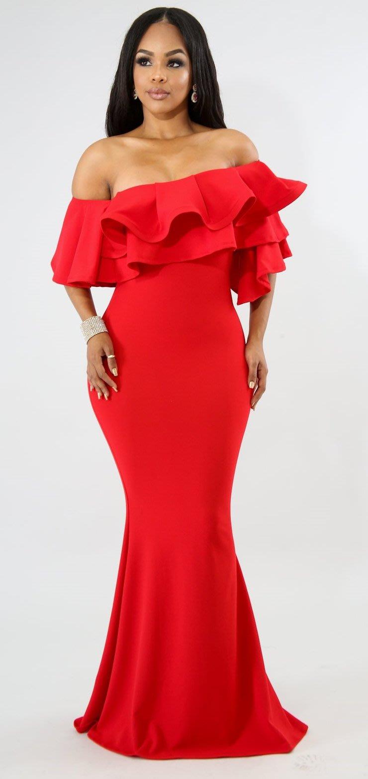 7c572e67580 Formal Dresses - Red Maxi Off Shoulder Ruffles Evening Mermaid Dress ...
