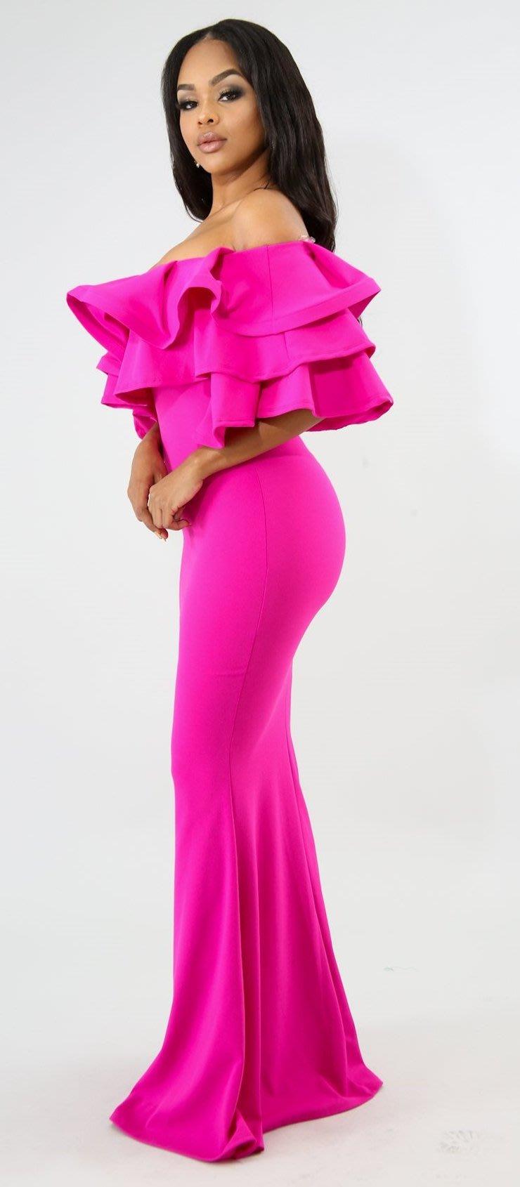 275641e03bf Formal Dresses - Fuchsia Maxi Off Shoulder Ruffles Evening Mermaid ...