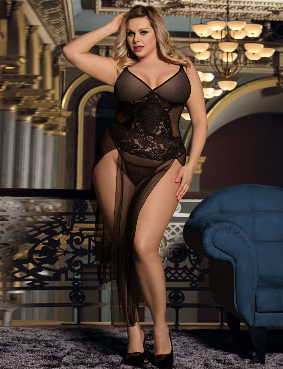 1f1db3fbb8 Black Lingerie Dress Lace Baby Doll Sexy Plus Size Lingerie Set - 2XL 3XL