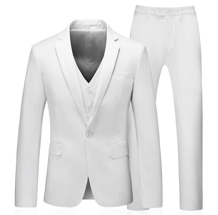 46a7f8c1a361a0 Suits - Men 3 Piece Slim Fit Wedding Business White Formal Suit - S ...
