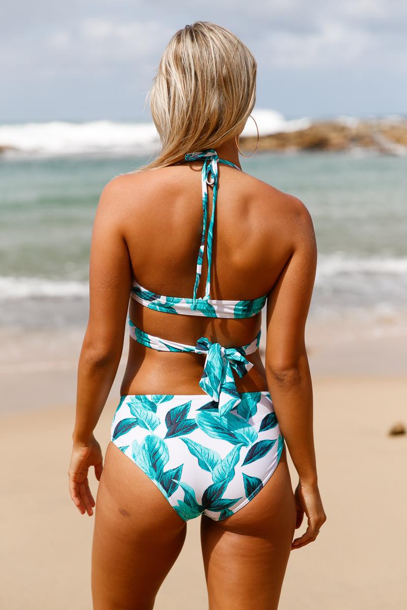 759c982f66060 Swimwear - White Green Leaf Print Cross Top Bikini Swimsuit - L was ...