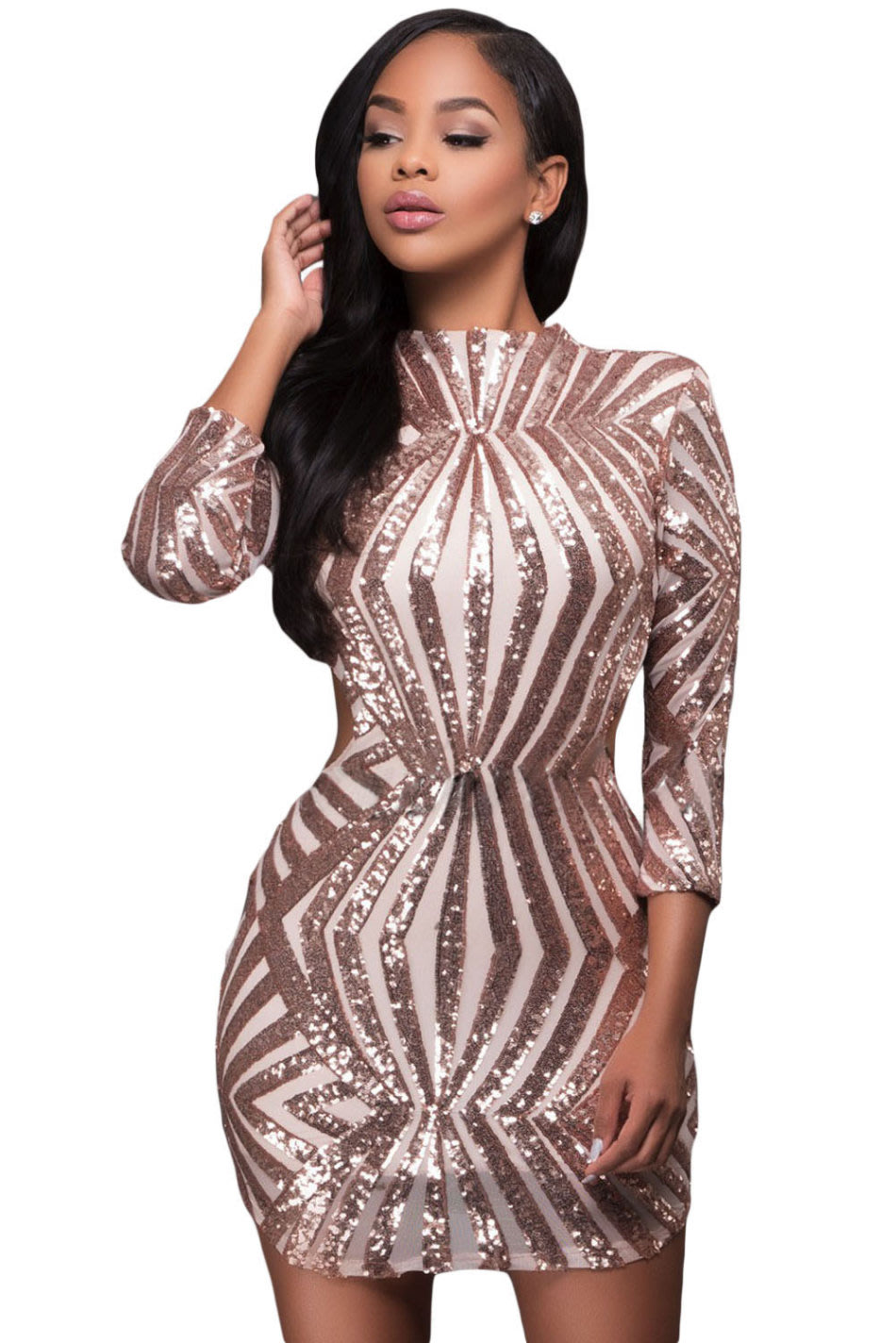 Formal Dresses - Champagne Long Sleeve Sequin Cocktail Bodycon Dress ... 00d24f425