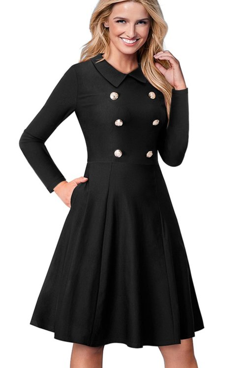Formal Dresses Black Double Breasted Vintage Fit And