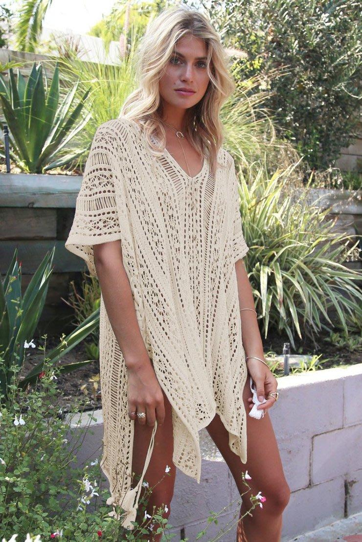 1fb0d3a448 Swimwear - Beige Crochet Knitted Tassel Tie Kimono Beachwear Cover ...