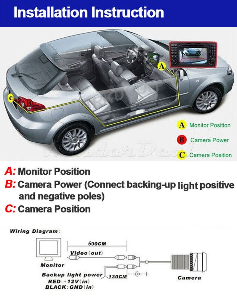Park Distance Control Car Reverse Rearview Parking Aid System 43 Reversing Camera Monitor Tft Lcd Wiring Diagram 1 X Color Power Cable Rear Powe For Video