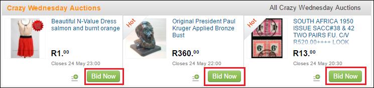 Green bid now button