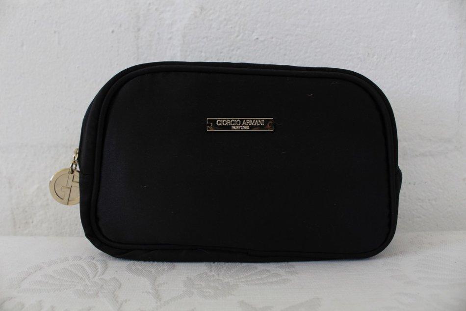 a2c8af3d66f7 Handbags   Bags -  GIORGIO ARMANI PARFUMS  BLACK SATIN TOILETRY ...